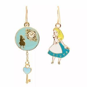 Alice in Wonderland asymmetric enamel earrings